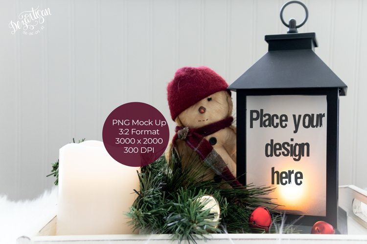 Christmas Snowman Lantern Mock Up