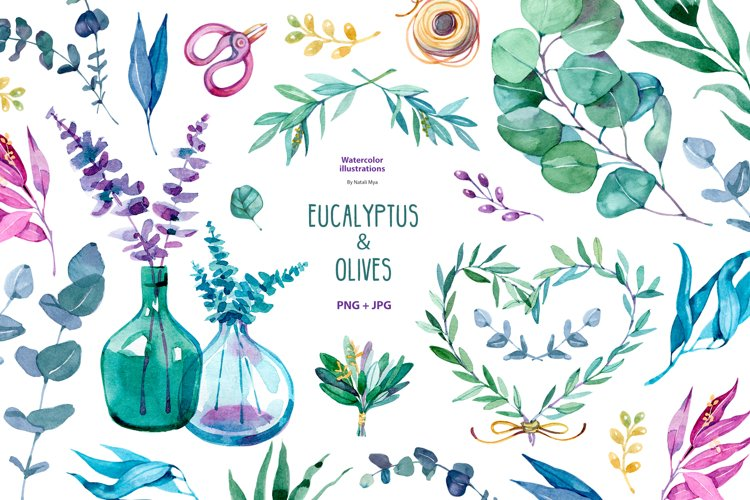Watercolor eucalyptus and olive example image 1
