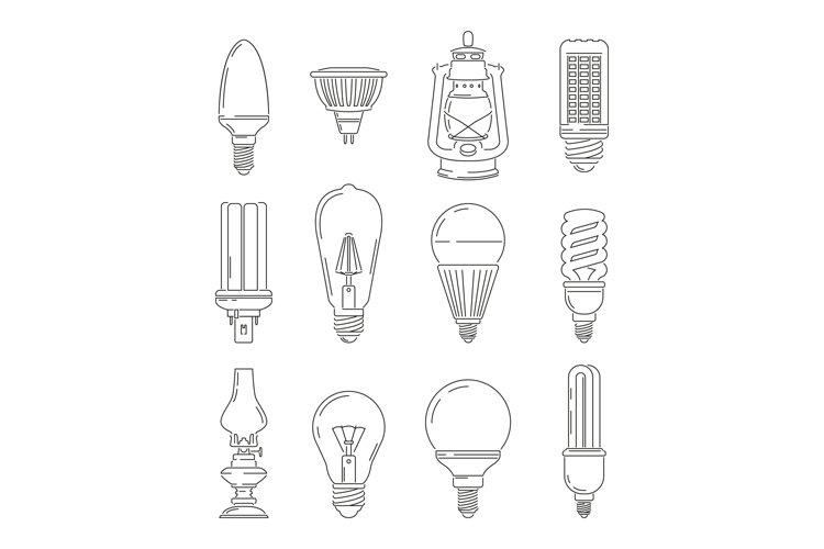 Symbols of light. Different bulbs. Mono line illustrations s example image 1