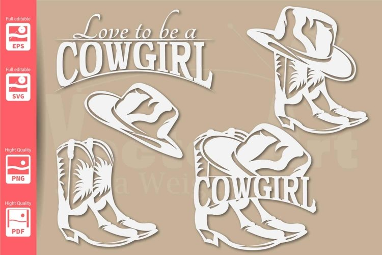 Cowgirl Logo with Hat and Boots - SVG - Set