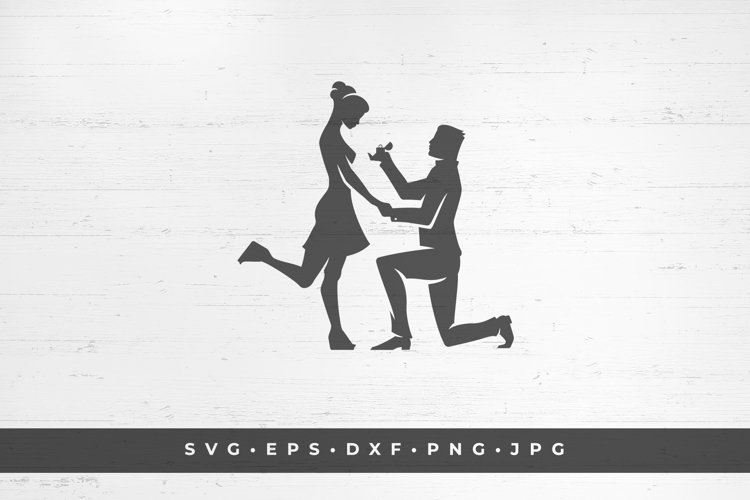 Young man proposes to a girl icon silhouette isolated