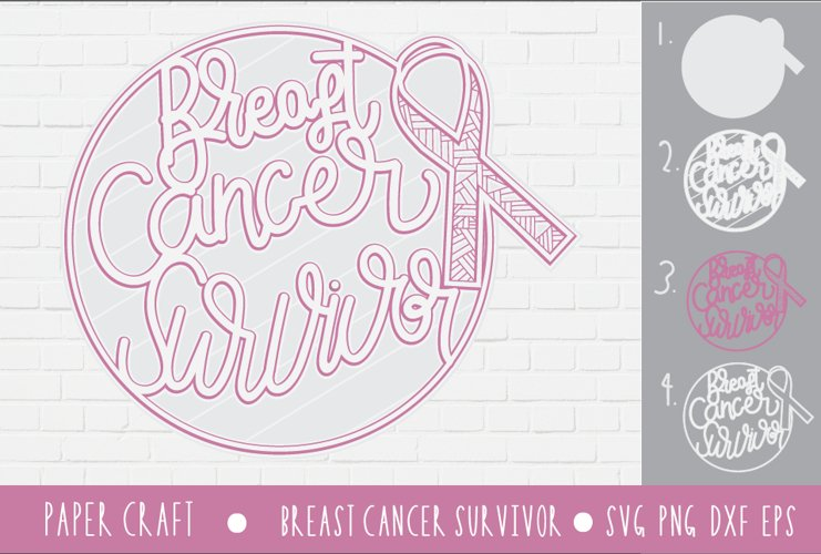 3D Layered Svg Cancer awareness ribbon|Breast Cancer|
