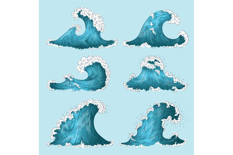 Hand drawn sea wave. Sketch ocean storm waves, marine water example image 1