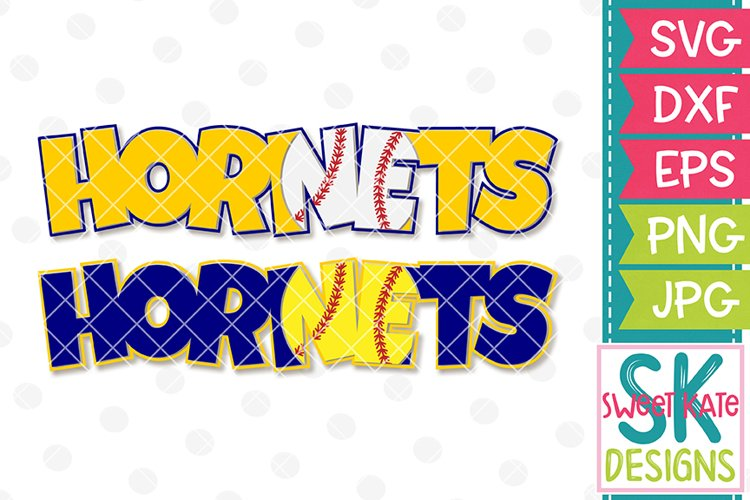 Hornets with Knockout Baseball or Softball SVG DXF EPS PNG JPG example image 1