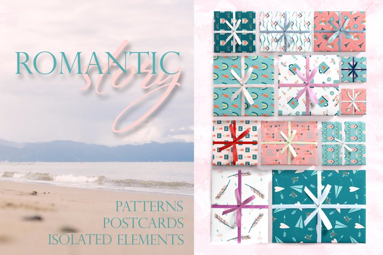 Romantic Valentine's Day. Love patterns, stickers and cards. example image 1