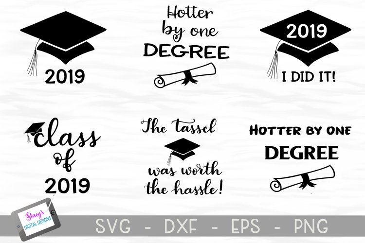 Graduation SVG Bundle - Includes 6 Class of 2019 SVG files example image 1