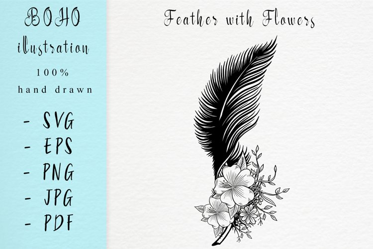 Boho illustration / Feather with flowers
