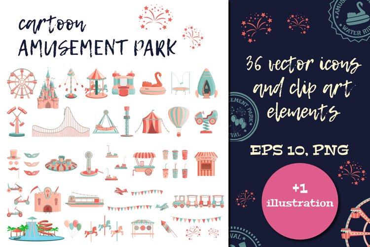 Cartoon amusement park ICON SET. example image 1