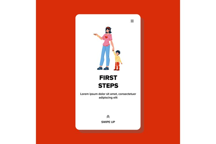 First Steps Make Little Boy Helping Mother Vector example image 1