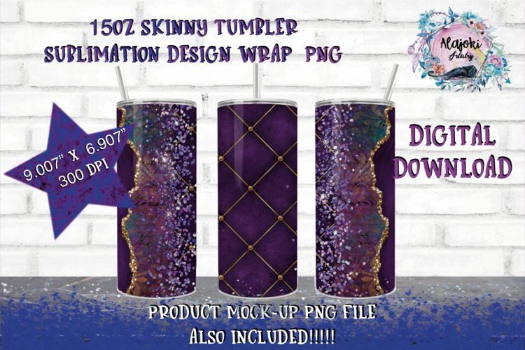 15oz Sublimation Purple Glitter  Skinny tumbler Design wrap example image 1