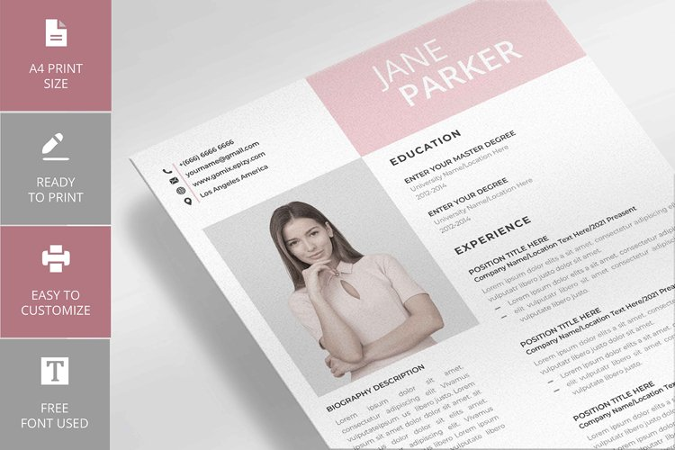 Modern Resume and Cover Letter Jane Milano