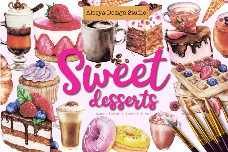 Sweet desserts - watercolor illustrations cakes and coffee