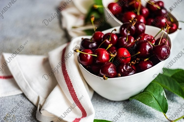 Ripe and organic sweet cherry berries in a box example image 1