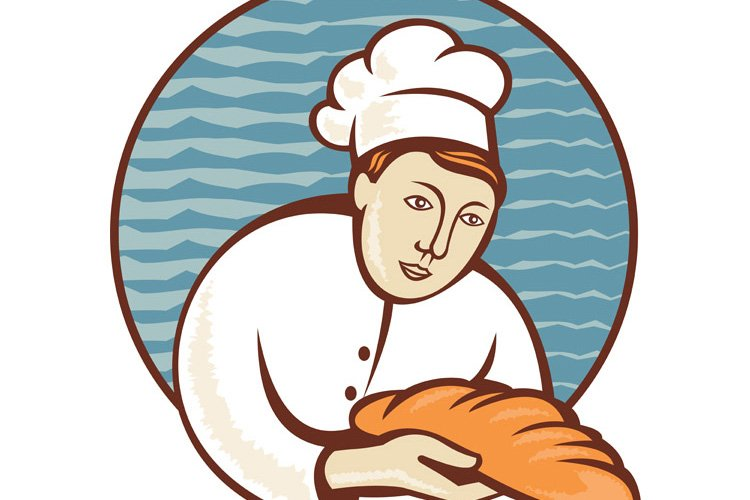 baker chef with loaf of bread retro example image 1