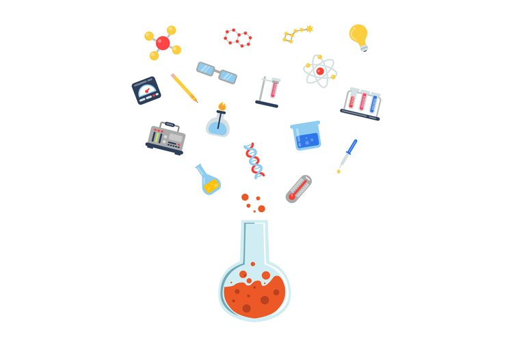 Vector flat style science icons vial illustration example image 1