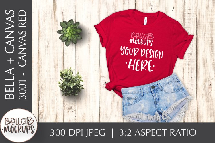 Bella Canvas 3001 Woman's T Shirt Mockup, Canvas Red example image 1