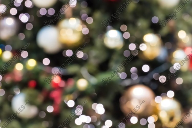 Abstract blurred christmas background with defocused lights.