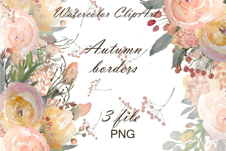 Autumn floral borders Watercolor example image 1