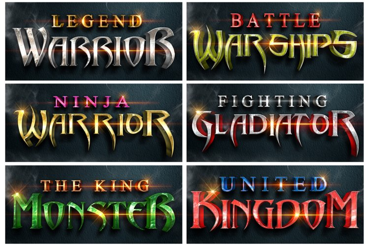 6 pack Create 3D text effect 12 Color style for phothoshop