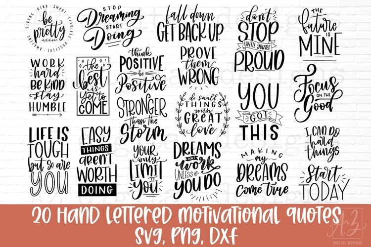 Hand Lettered Motivational Quote Bundle