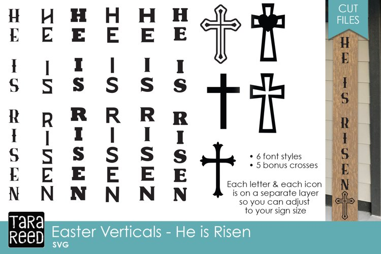 Easter He is Risen Vertical Signs - Easter SVG & Cut Files