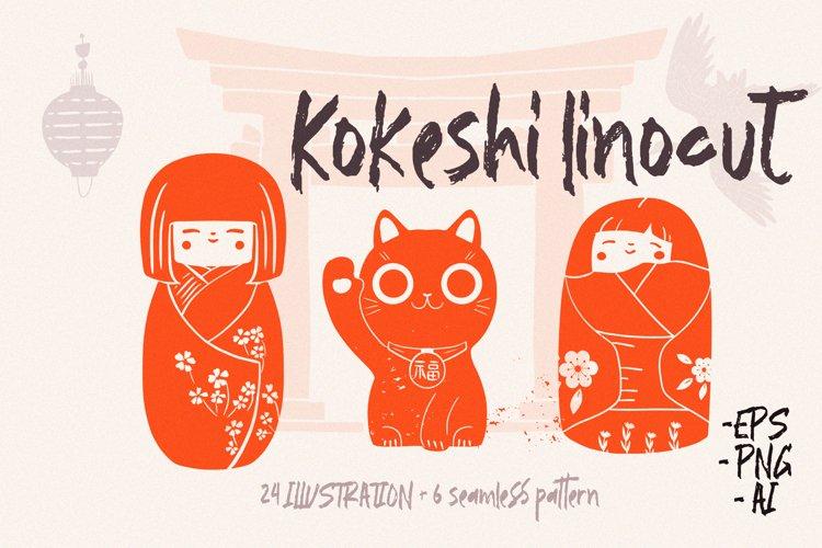 Kokeshi linocut art