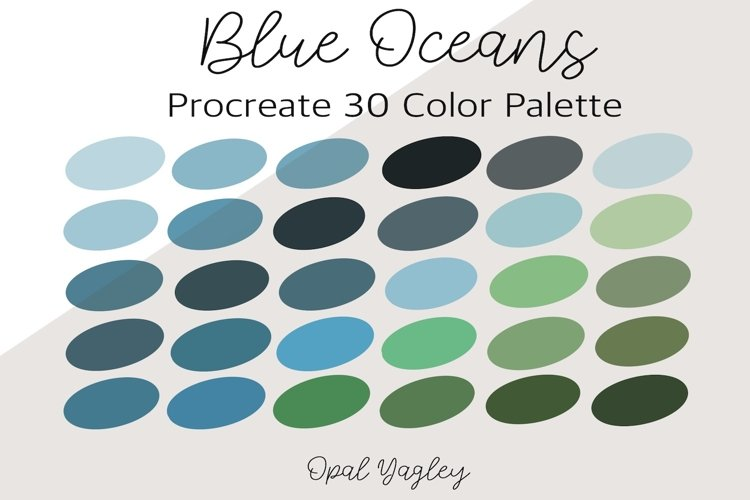 Blue Ocean Procreate Color Palette / Teal Blue & Green example image 1