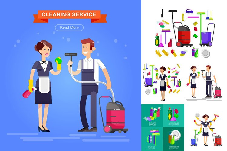 Cleaning service characters example image 1