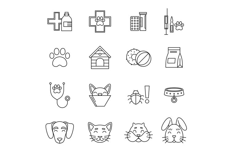 Linear icons set of veterinarian clinic. Different care tool example image 1