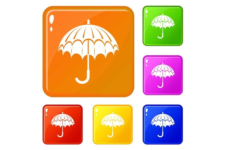 Opened umbrella icons set vector color example image 1