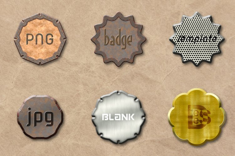 6 metallic Blank badge set. 3D rendering illustration. example image 1