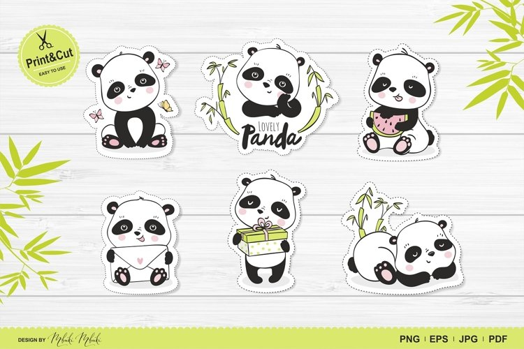 Cute Panda Printable Stickers Cricut Design