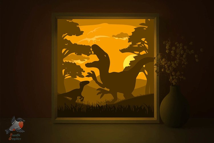 Dinosaur Rex Lightbox Shadow Box SVG Template