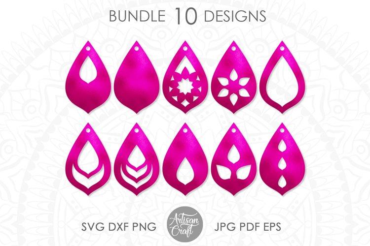 Teardrop earrings,SVG, cut file, leather earrings SVG example image 1