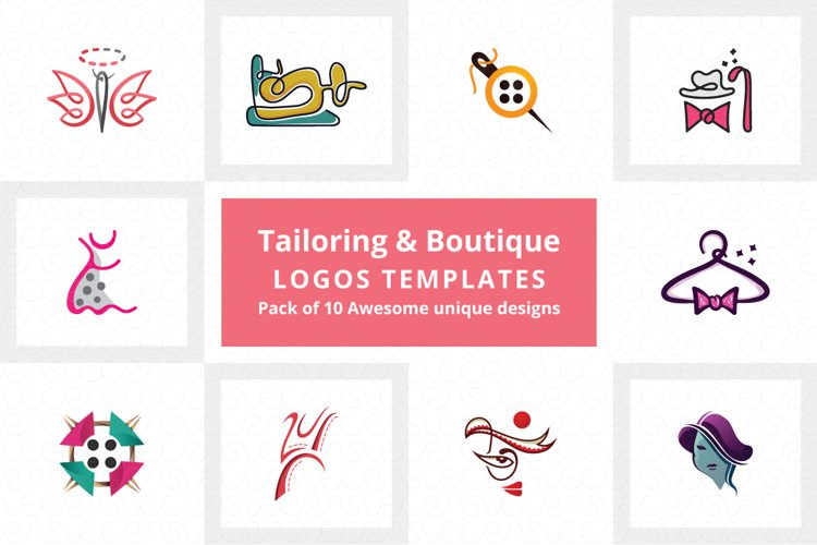Tailoring & Boutique Logo Templates Pack of 10 example image 1