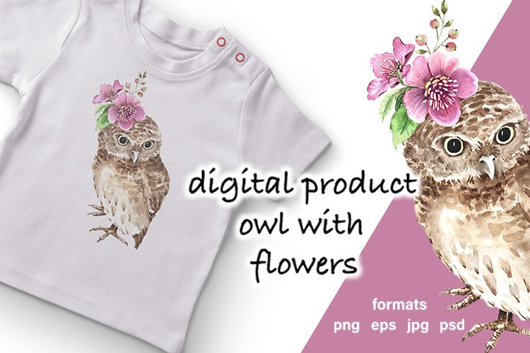 digital product watercolor illustration cute owl with flower example image 1