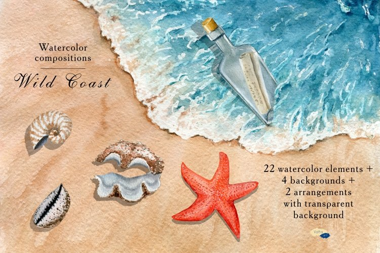 Watercolor Summer Coast clipart, PNG Beach Elements, example image 1