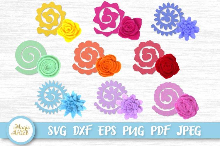 Felt Flowers svg, Rolled flower svg, No sew Felt Flower set