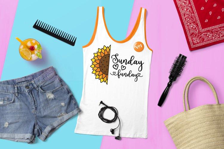Sunday Funday SVG, Sunflower SVG, Tshirt design with flower