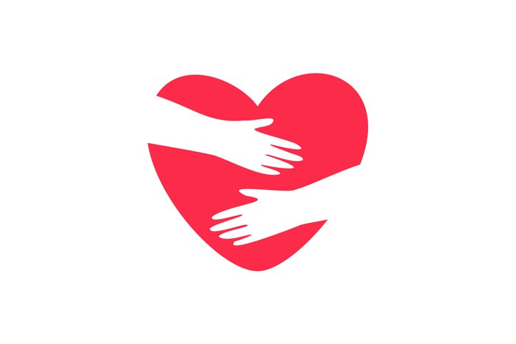 Hands embracing heart logo example image 1