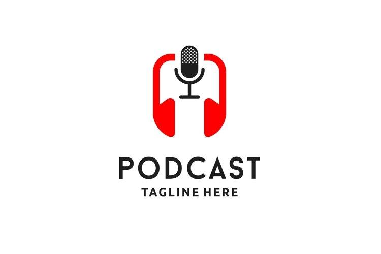 Podcast Red Headset, Headphone logo design inspiration example image 1