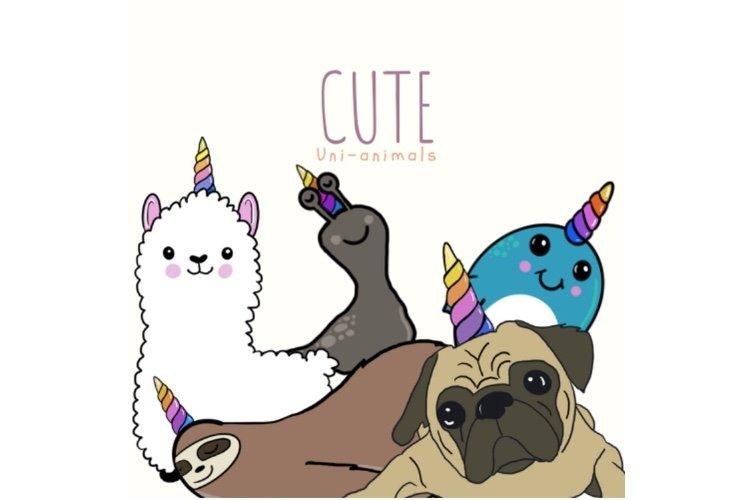 Cute Unicorn Animals Clipart example image 1
