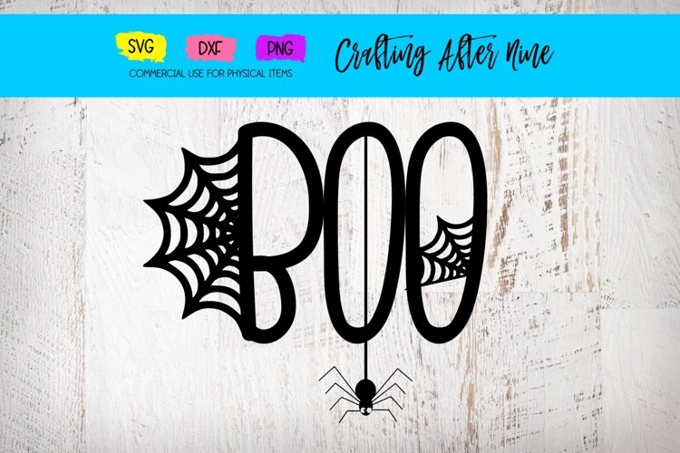 Boo Spider Web, Halloween, My First Boo, Bat Cat Witch example image 1
