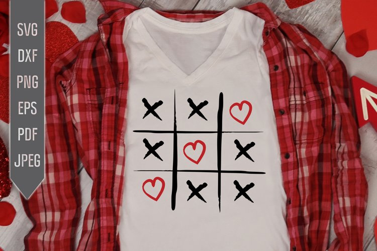 Tic Tac Toe Hearts Svg. Valentines Day dxf, png, eps example image 1