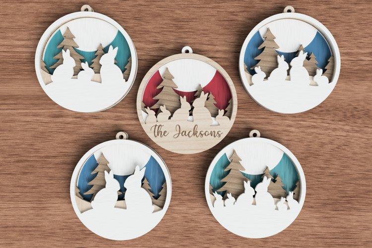 Christmas ornament laser cut file Bundle - Bunny Families example image 1