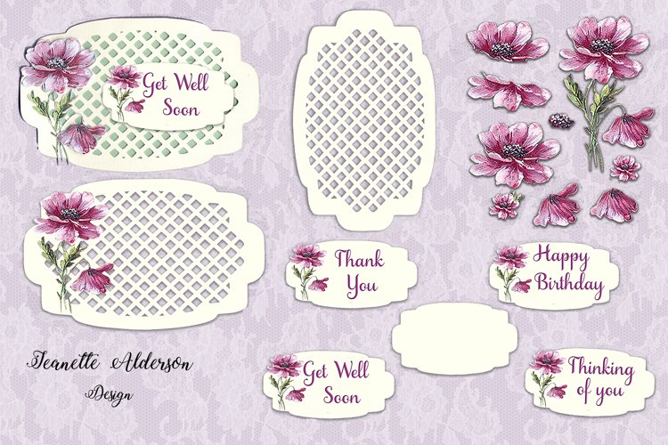 Mauve Vintage flower decoupage card with a trellis topper example image 1