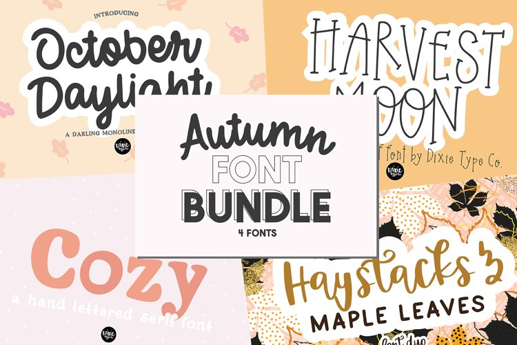 Autumn Font Bundle - 4 Hand Lettered Fall Fonts example image 1
