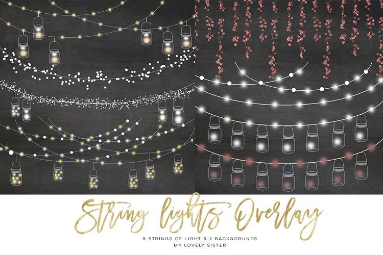 String Lights Clipart, Mason jar Chalkboard Party Lights
