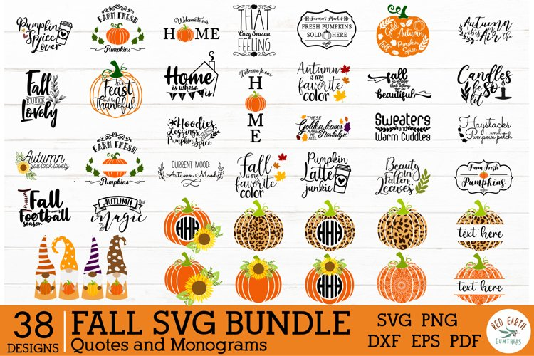 Fall Autumn Quotes and Monogram frames bundle SVG,Gnome svg