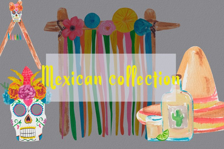 Mexican decoration party clipart. Fiesta watercolor example image 1